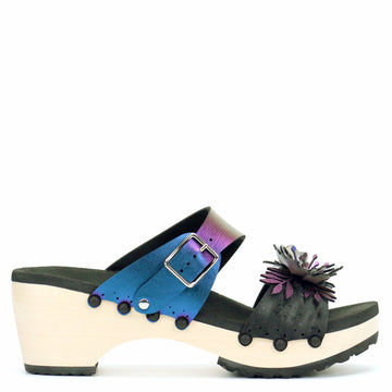 Mid Clog with Blue Iridescent Mule Strap and Black Flower Toe