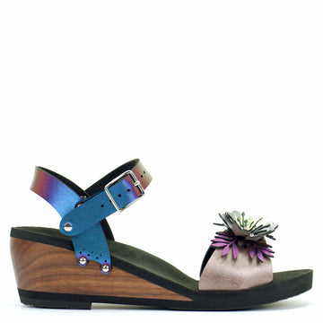 Mid Wedge Sandal with Blue Iridescent Ankle Strap and Rose Flower Toe