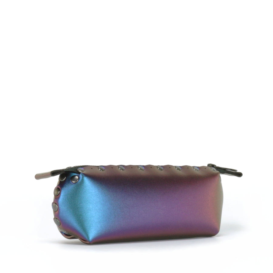 Side front view of peacock pencil bag