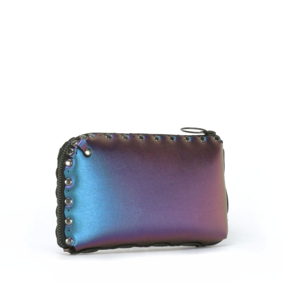 Side view of peacock wallet bag showing wrap around zipper