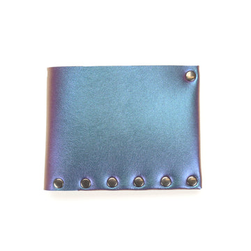 Blue Iridescent Vegan Leather Folding Wallet