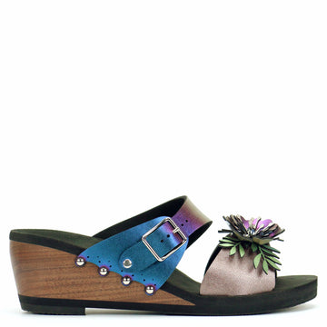 Mid Wedge Sandal with Blue Iridescent Mule Strap and Rose Flower Toe