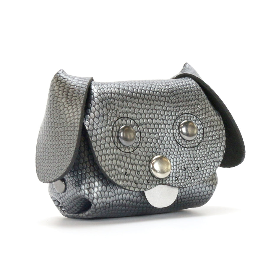 Dog Coin purse made from dark silver vegan leather by Mohop