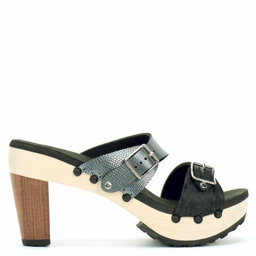 High Heel Buckle Toe Mule in Midnight and Pewter
