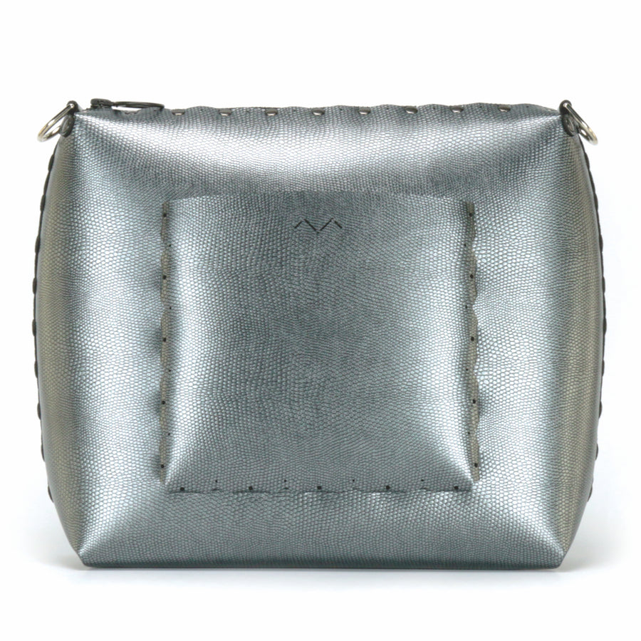 Rear view of large pewter crossbody bag