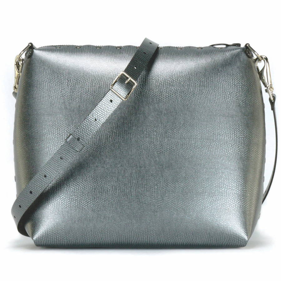 Large pewter crossbody bag with strap