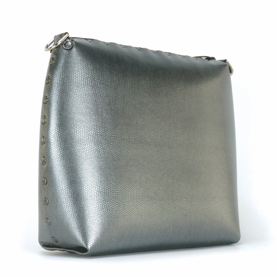 Front side view of large pewter crossbody bag