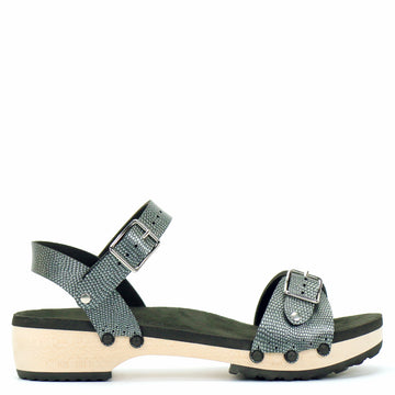 Low Clog Buckle Toe Ankle in Pewter