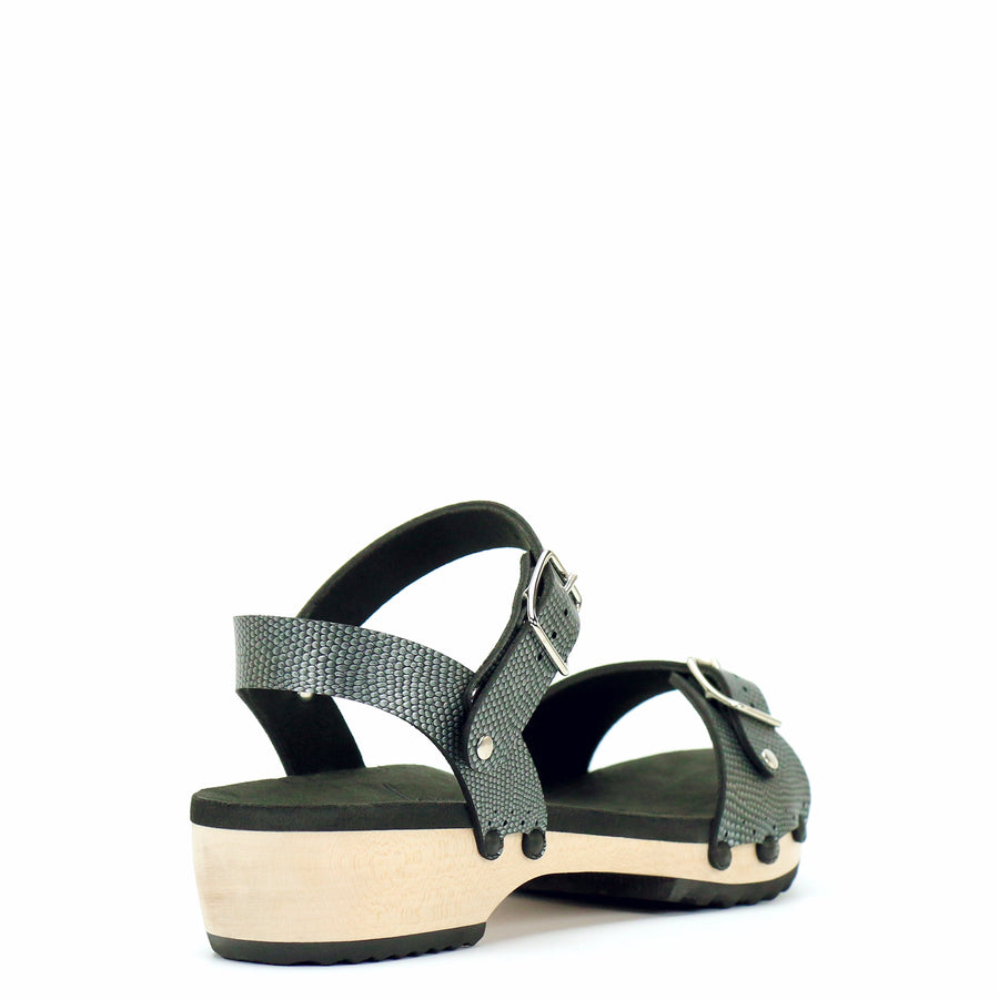 Low Clog Buckle Toe Ankle in Pewter - Mohop