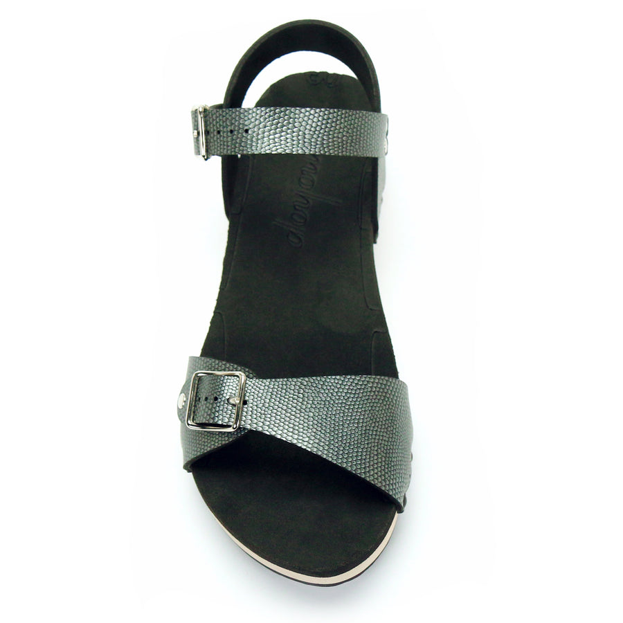 Low Clog with Pewter Ankle Strap and Buckle Toe