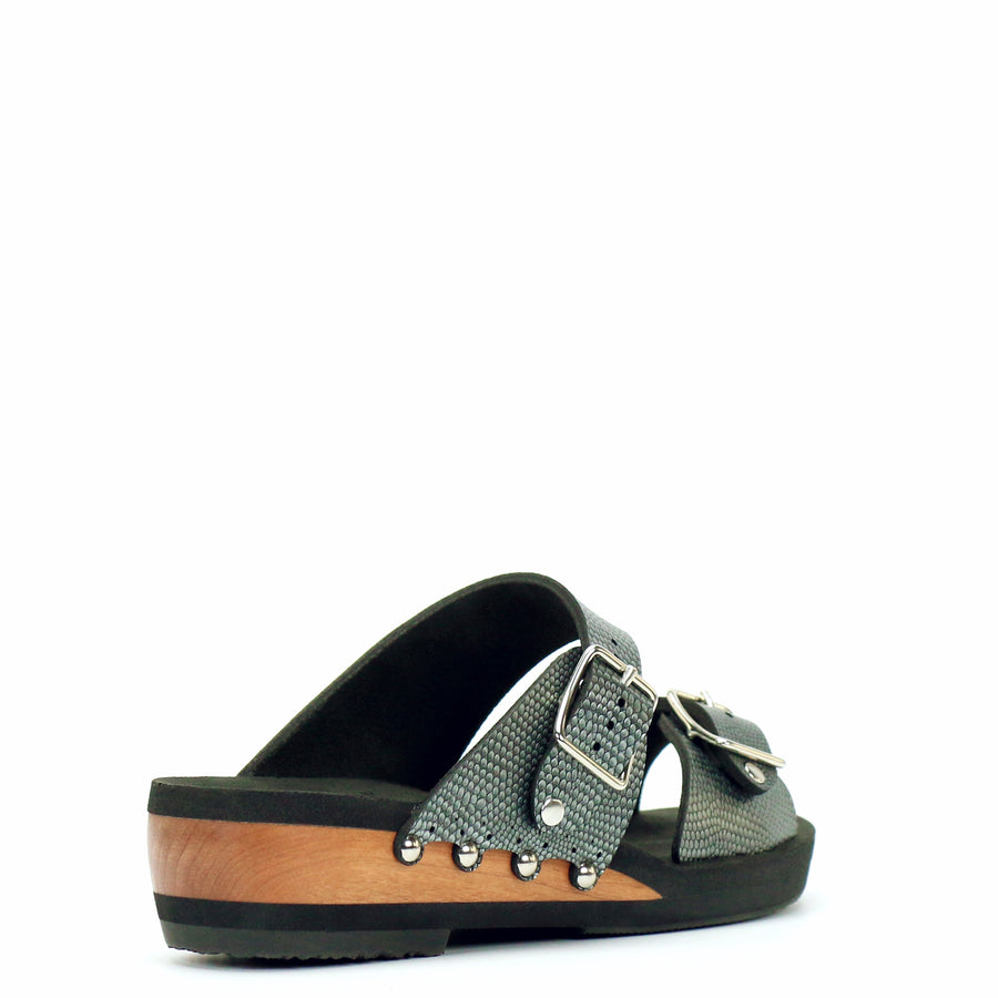 Low Wedge Buckle Toe Mule in Pewter - Mohop