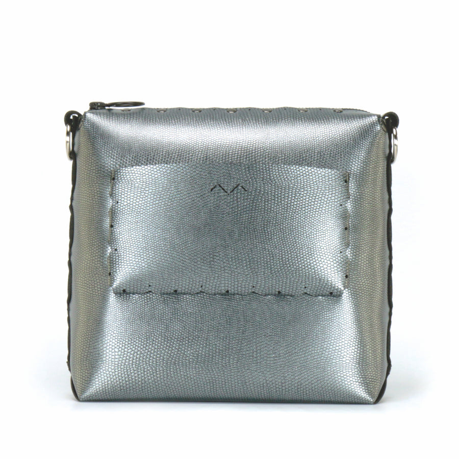 Rear view of pewter medium crossbody bag