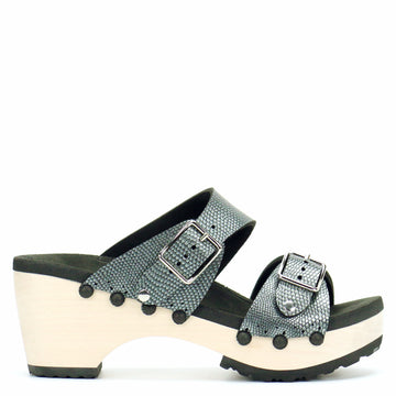 Mid Clog Buckle Toe Mule in Pewter - Mohop