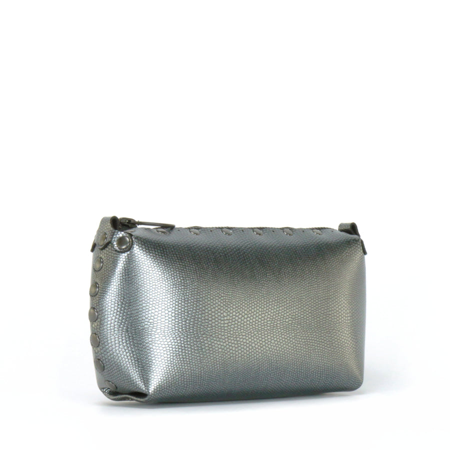 Side front view of pewter mini bag