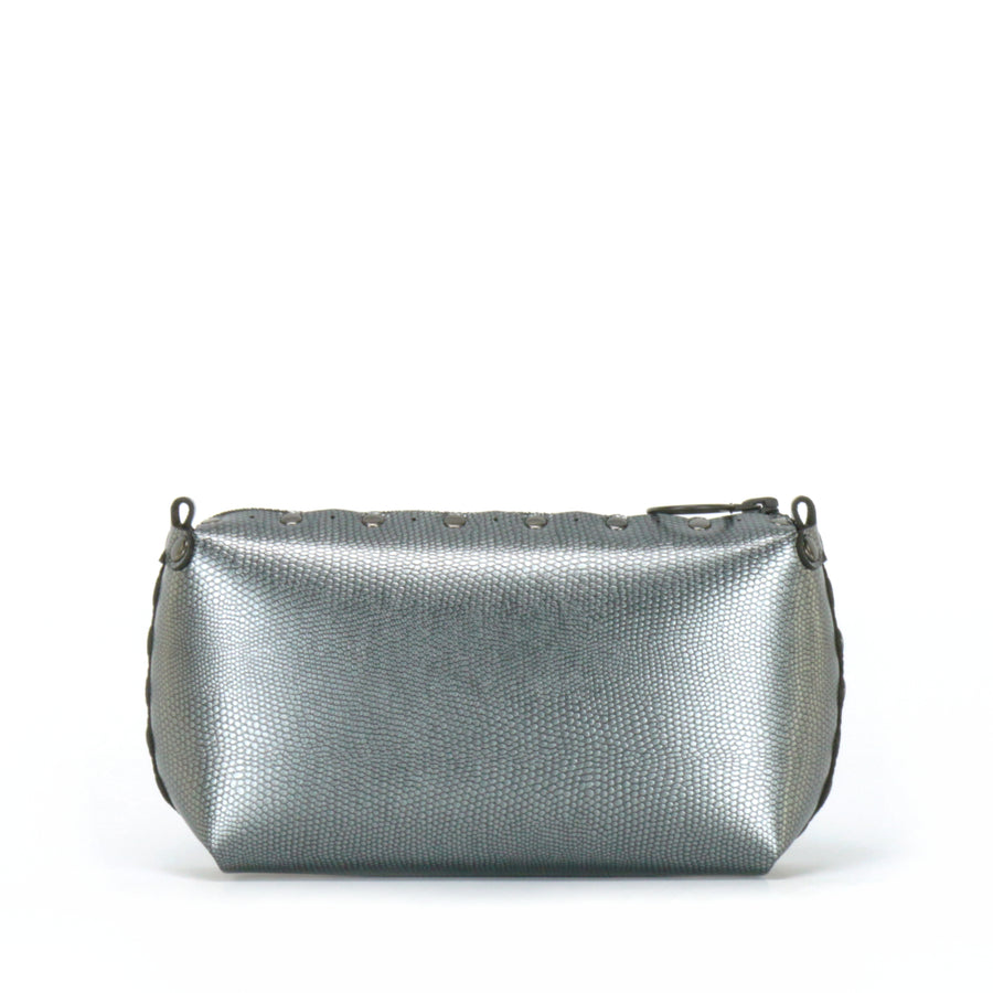 Rear view of pewter mini bag