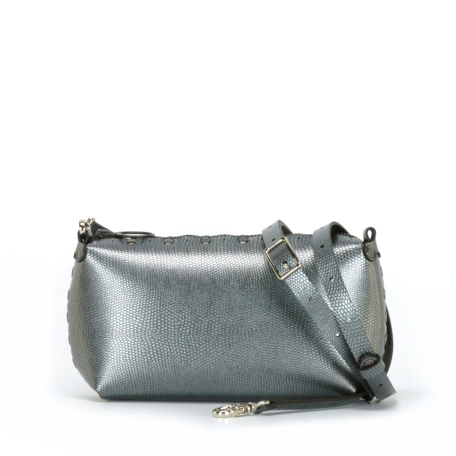 Pewter mini bag shown with optional crossbody strap
