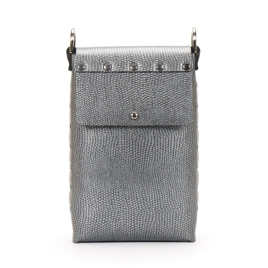 Pewter vegan leather mobile crossbody bag with removable strap
