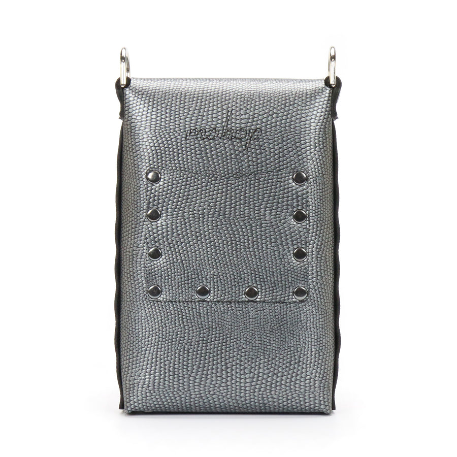 Pewter vegan leather mobile crossbody bag with exterior pocket