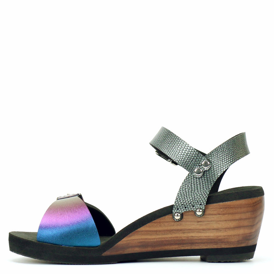 Mid Wedge Buckle Toe Ankle in Peacock and Pewter - Mohop