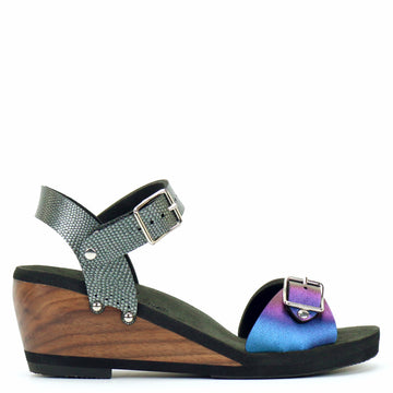 Mid Wedge Sandal with Pewter Ankle Strap and Blue Iridescent Buckle Toe