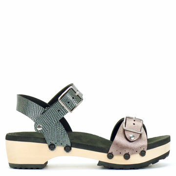 Low Clog Buckle Toe Ankle in Rose and Pewter