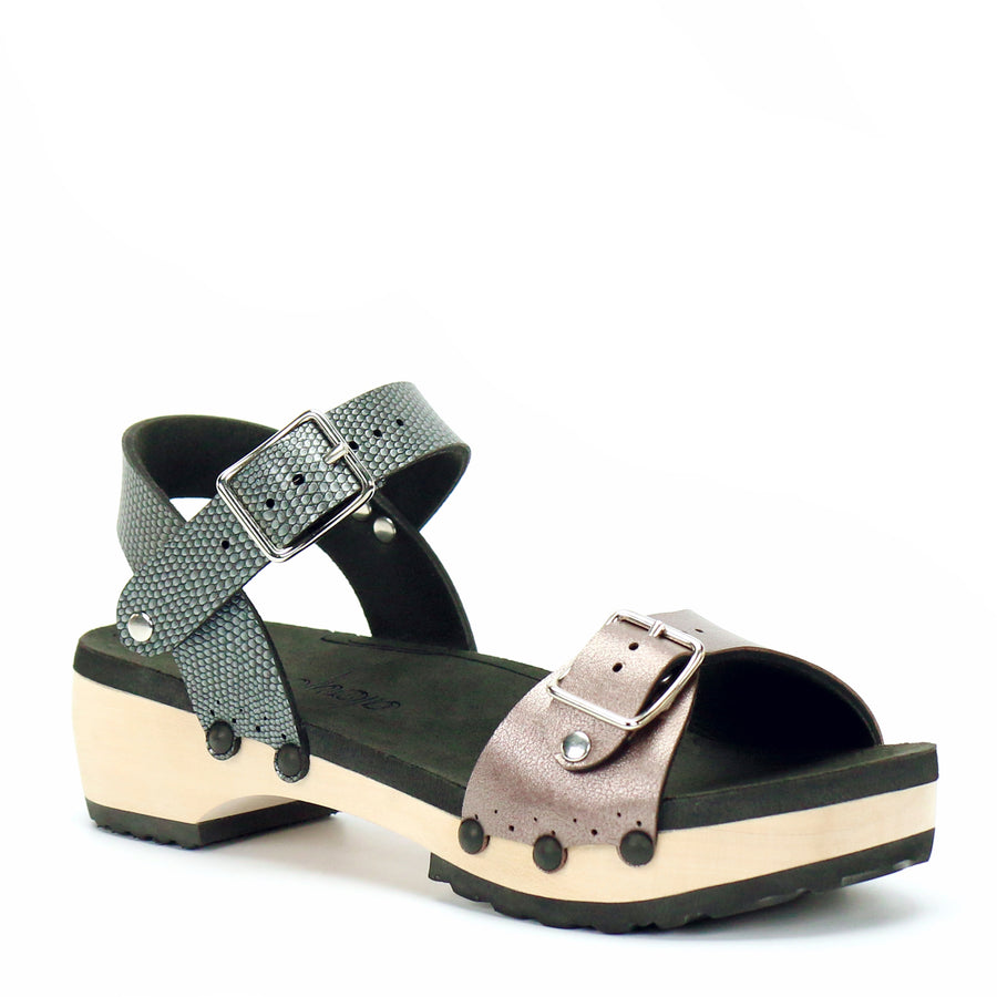 Low Clog with Pewter Ankle Strap and Rose Buckle Toe