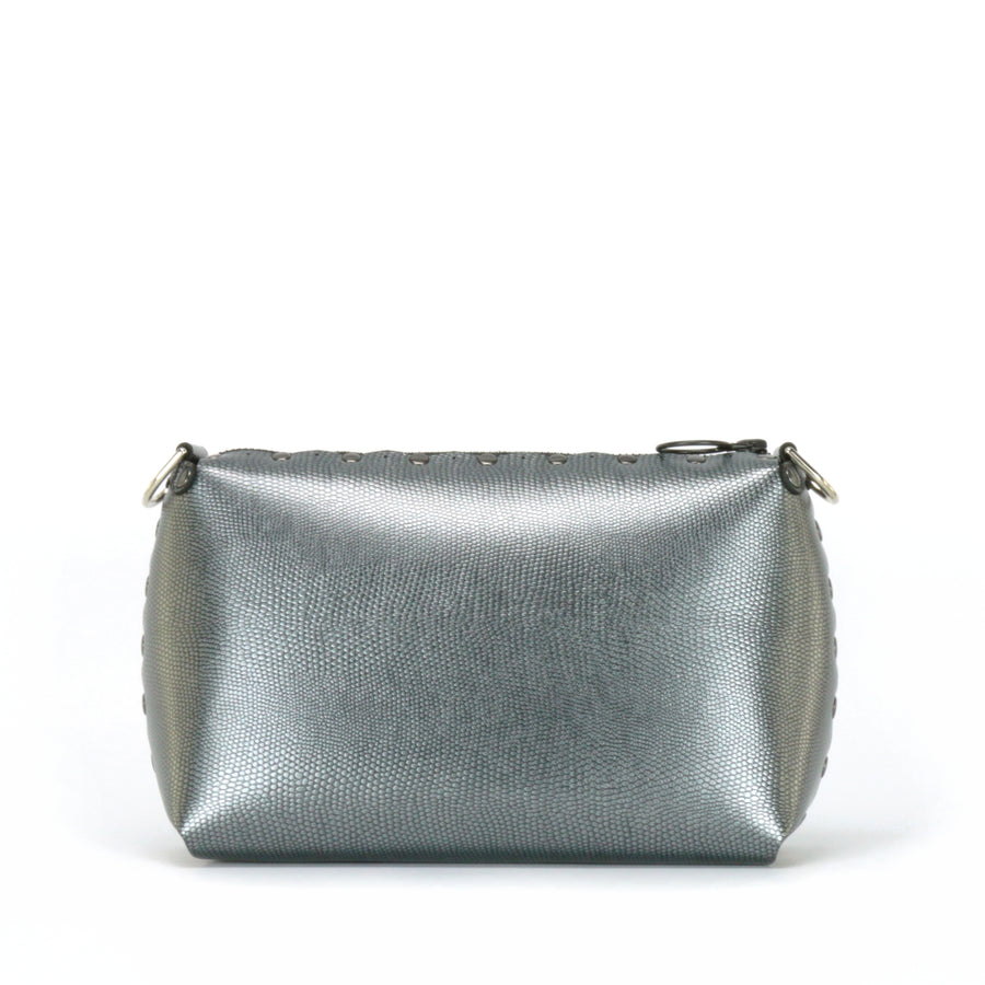 Front view of pewter small crossbody bag without strap