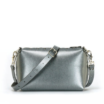 Pewter small crossbody bag with strap