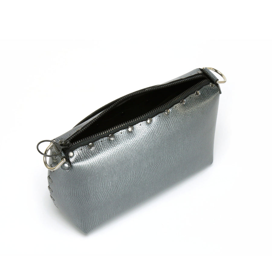 Top view of zipper in pewter small crossbody bag