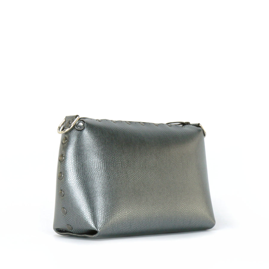 Front side view of pewter small crossbody bag