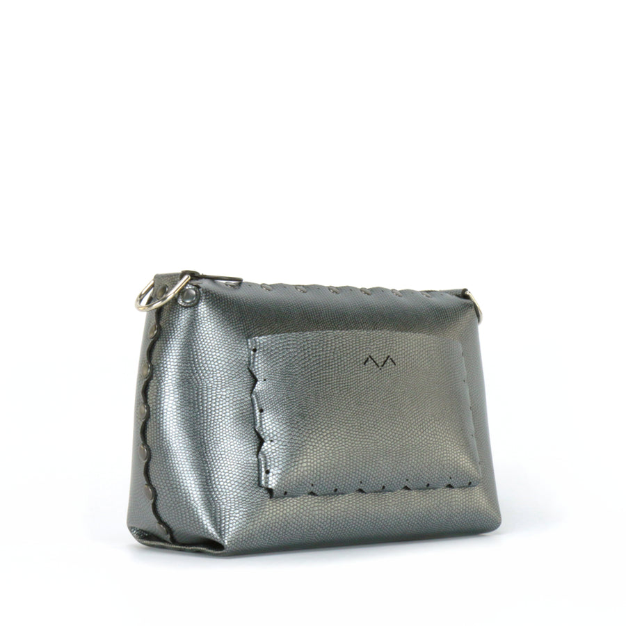 Rear side view of pewter small crossbody bag