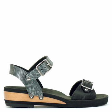 Low Wedge Buckle Toe Ankle in Midnight and Pewter