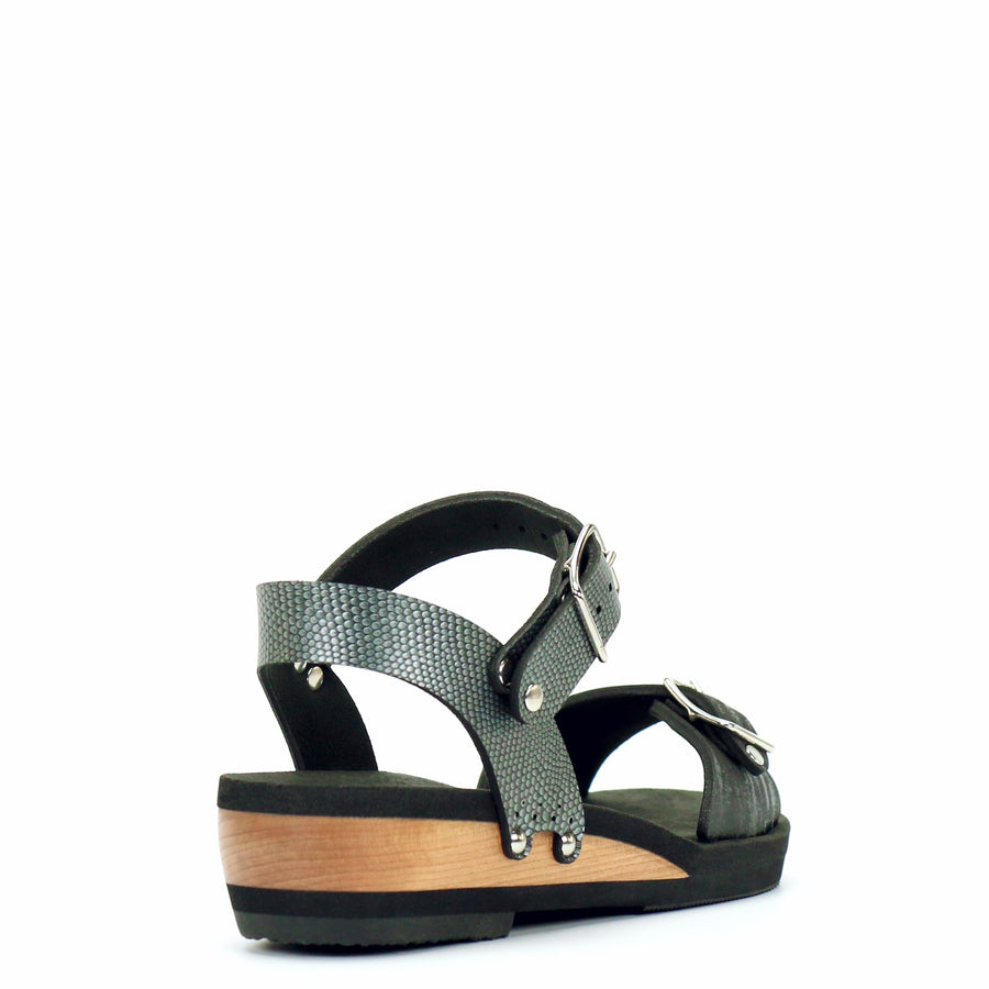 Low Wedge Buckle Toe Ankle in Midnight and Pewter - Mohop