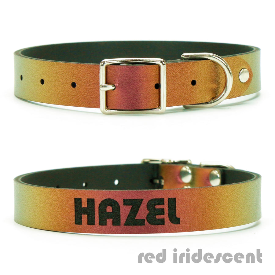 Red Iridescent vegan leather custom dog collar