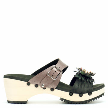 Mid Clog with Rose Mule Strap and Black Flower Toe