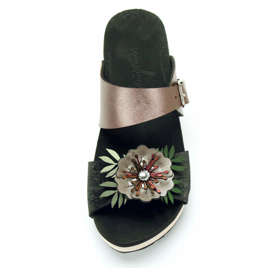 Mid Clog Flower Toe Mule in Midnight and Rose - Mohop