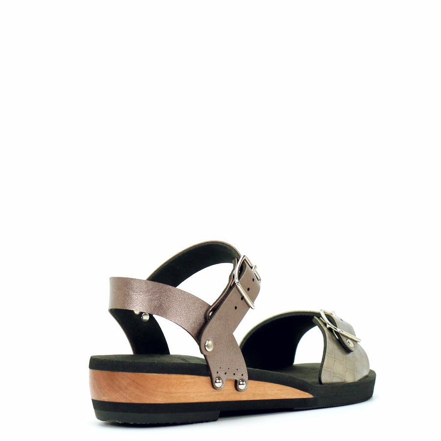Low Wedge Buckle Toe Ankle in Croc and Rose - Mohop