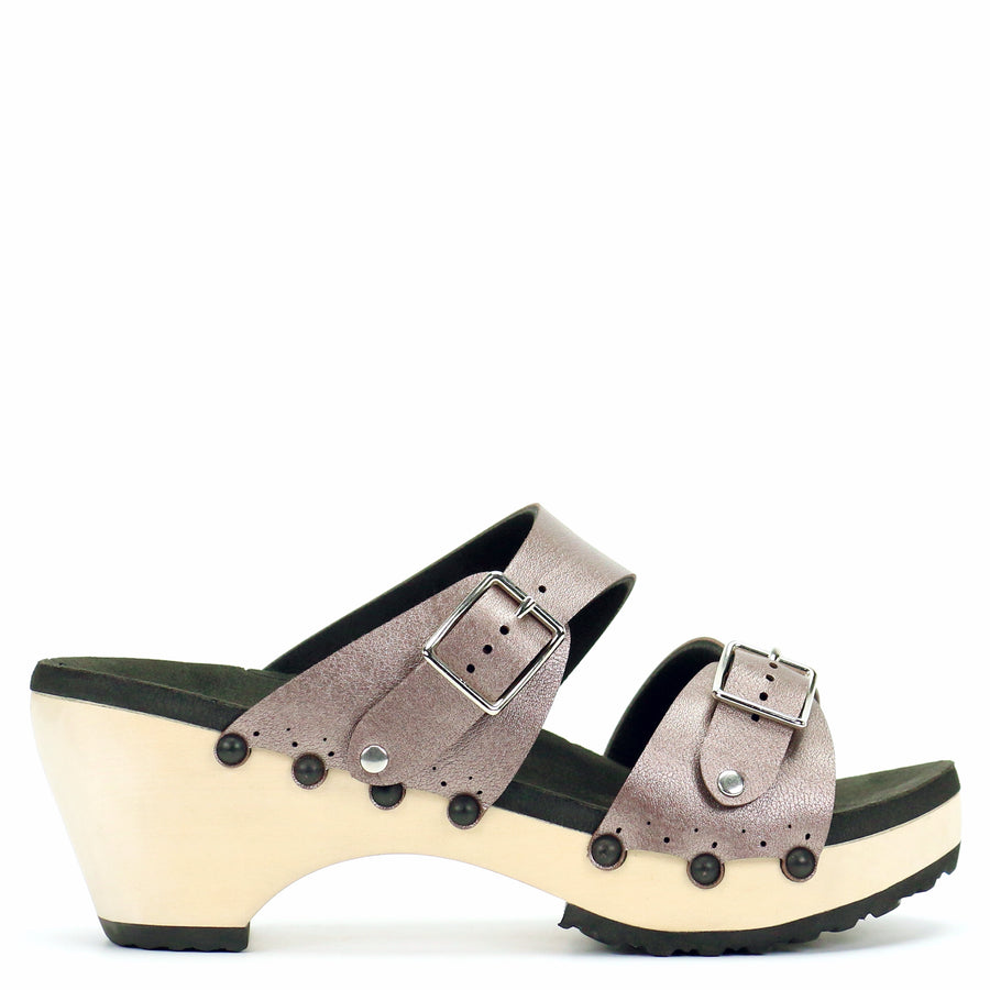 Mid Clog with Rose Mule Strap and Buckle Toe