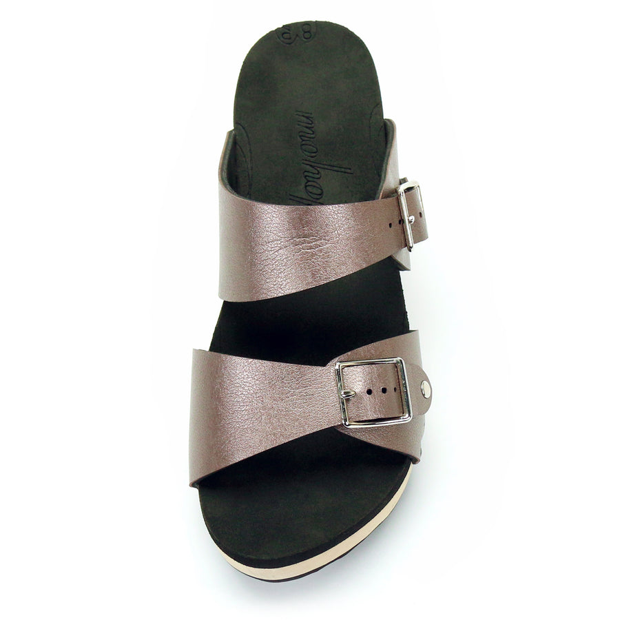 Mid Clog Buckle Toe Mule in Rose - Mohop