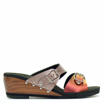 Mid Wedge Sandal with Rose Mule Strap and Red Iridescent Buckle Toe