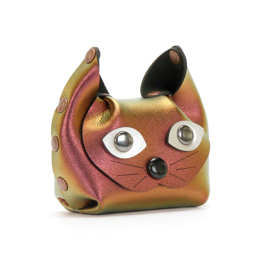Red Iridescent Cat Coin Purse and earbud case by Mohop