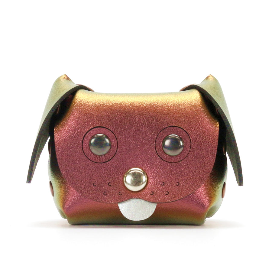 Dog Coin purse and ear bud cases made from red iridescent vegan leather by Mohop