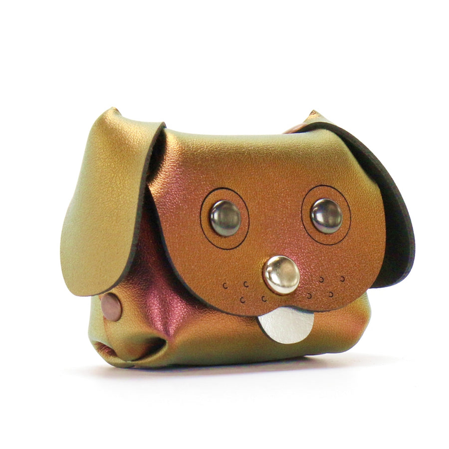 Dog Coin purse made from red iridescent vegan leather by Mohop