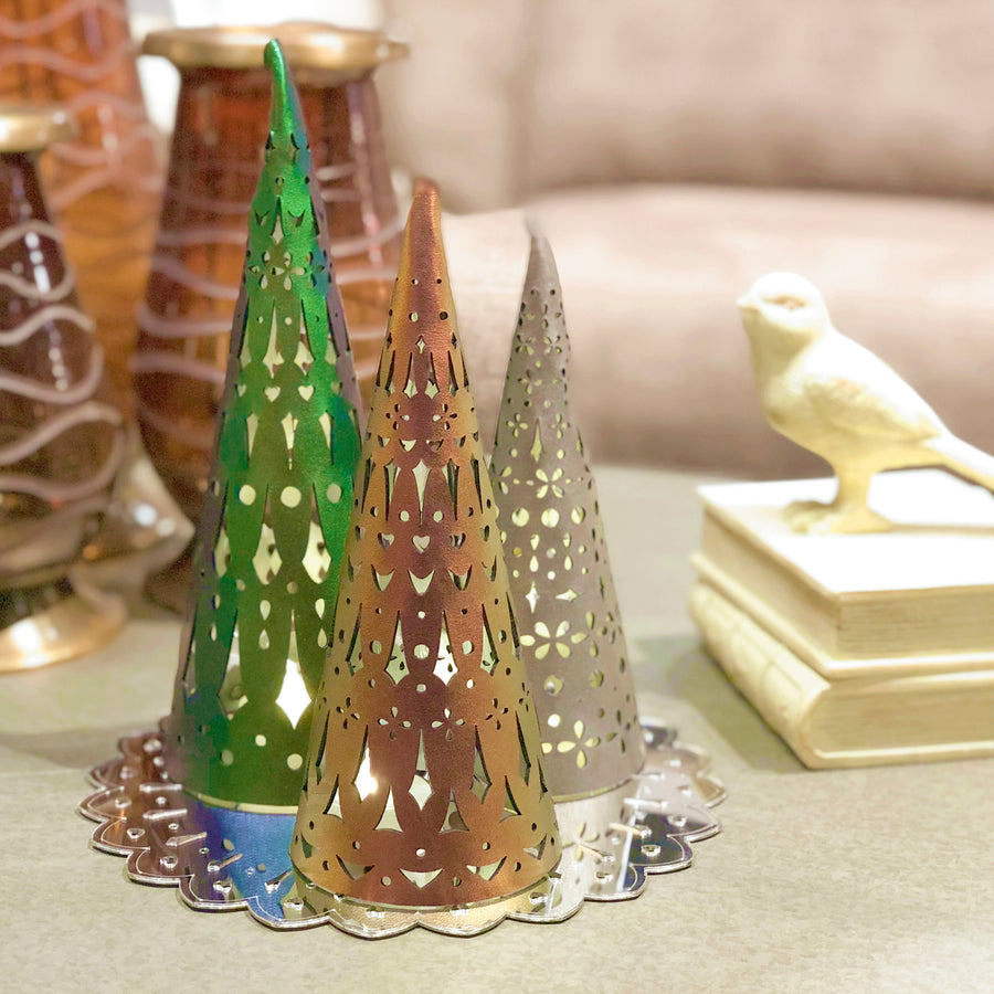 Emerald, ruby and bronze holiday luminaria with mirrored reflector