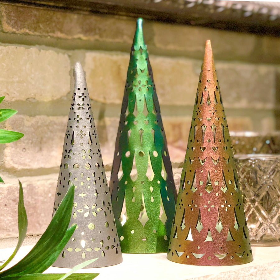 Emerald, ruby and bronze holiday luminaria