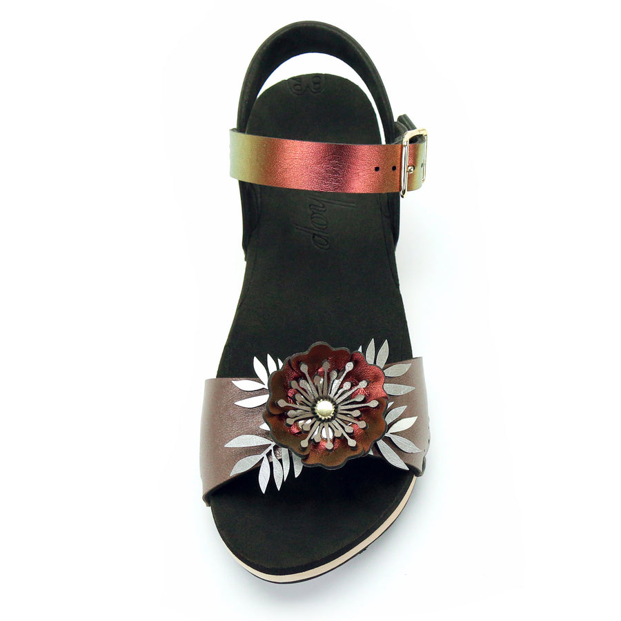 Low Clog Flower Toe Ankle in Rose and Ruby - Mohop