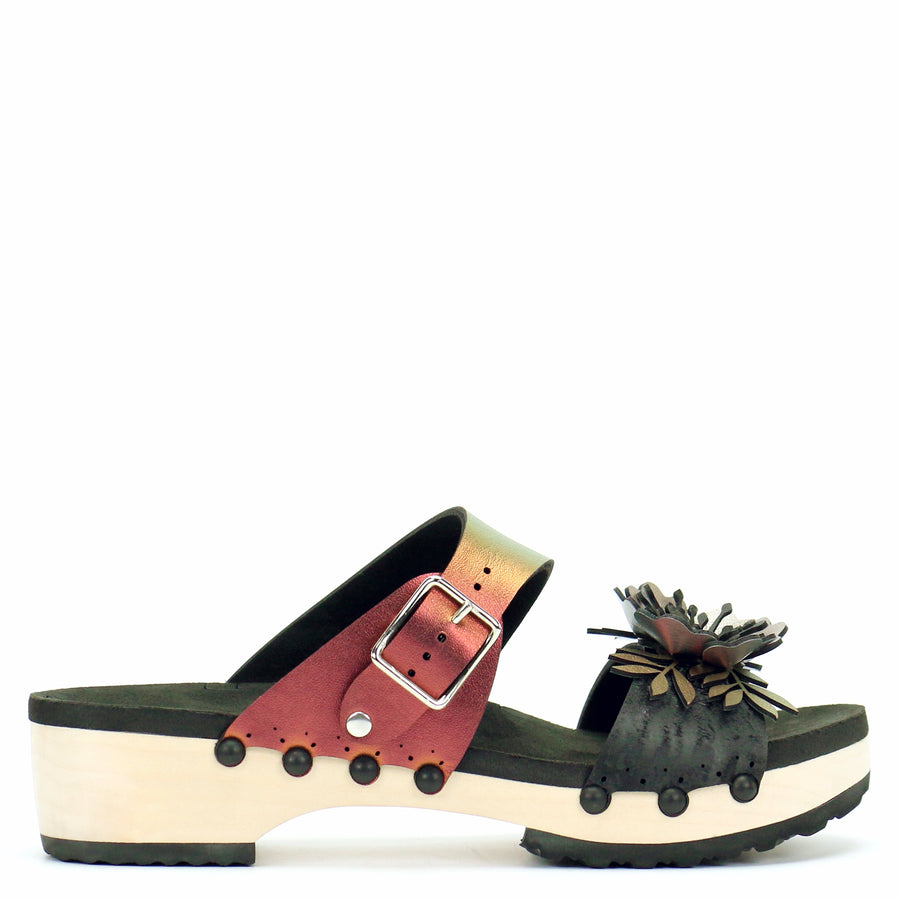 Low Clog with Red Iridescent Mule Strap and Black Flower Toe
