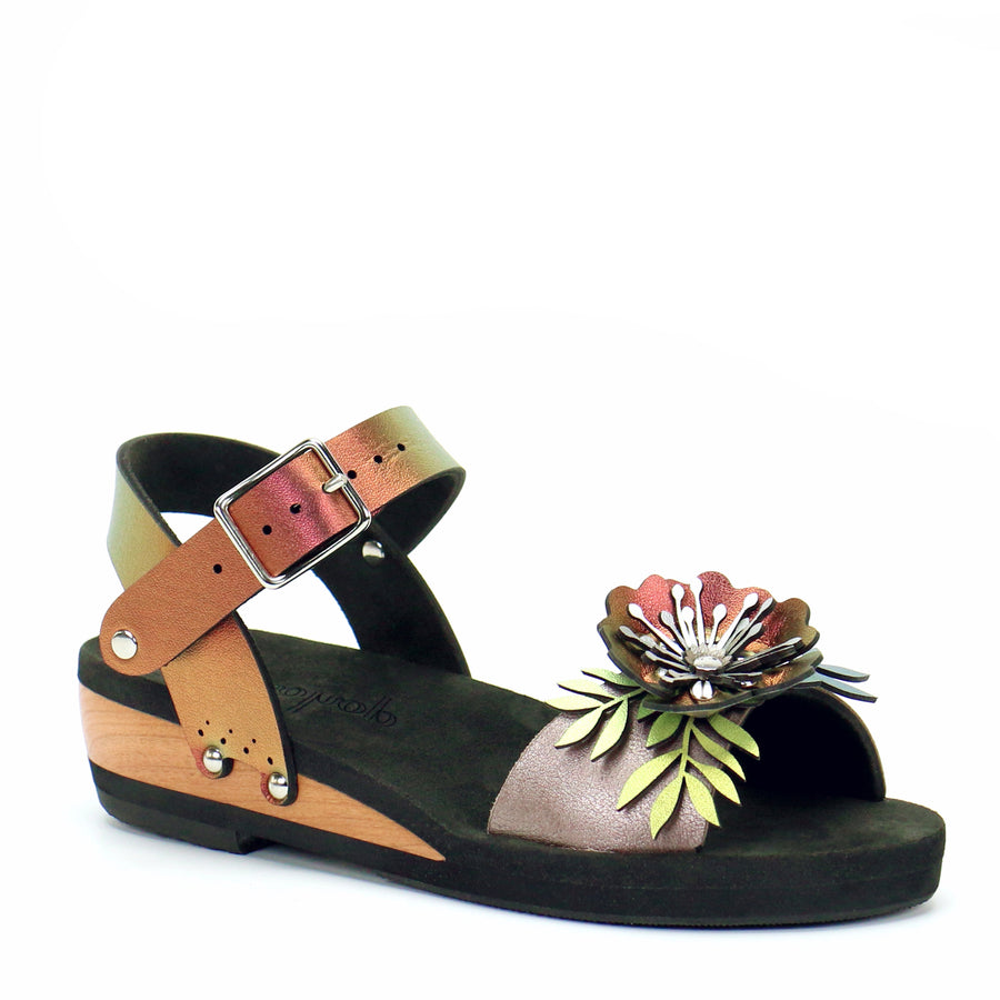 Low Wedge Flower Toe Ankle in Rose and Ruby - Mohop