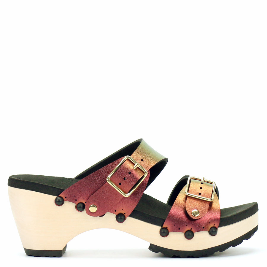 Mid Clog Buckle Toe Mule in Ruby - Mohop