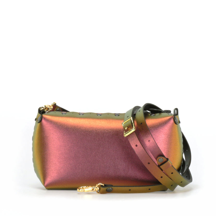 Ruby mini bag shown with optional crossbody strap